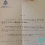 Carta Convite Audiencia Papal